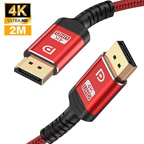 4K DisplayPort Kabel 2M - DisplayPort auf DisplayPort Kabel(4K@60Hz,2K@144Hz) Nylon Geflecht DP zu DP Kabel Ultra High Speed Display Port Kabel unterstützt Laptop PC,TV etc (Rot)